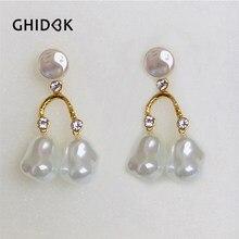 GHIDBK Baroque Rhinestone Pearls Chandelier Earrings Bridal Wedding Dangle  Earrings Charms Pendientes Earrings Statement Jewelry ad772cf33c10