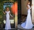 Горячая Продажа Сексуальная Длинным Рукавом Оболочка Атласная Свадебные Платья Свадебные Платья На Заказ