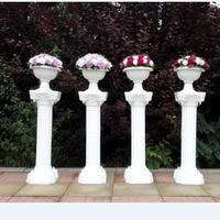 2pcs/lot Wedding Decoration Props Artificial Hollow Roman Columns White Color Plastic Pillars Road Cited mermaid Party Event