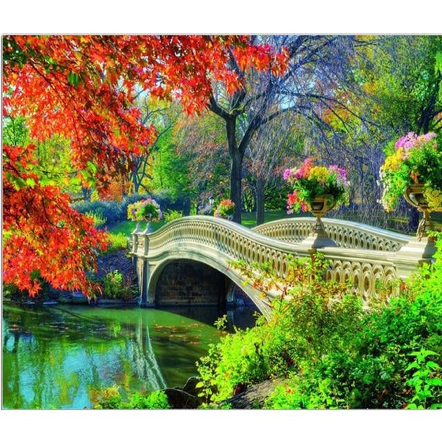 Berlian Bordir Mosaik Pemandangan Lanskap Pemandangan Jembatan