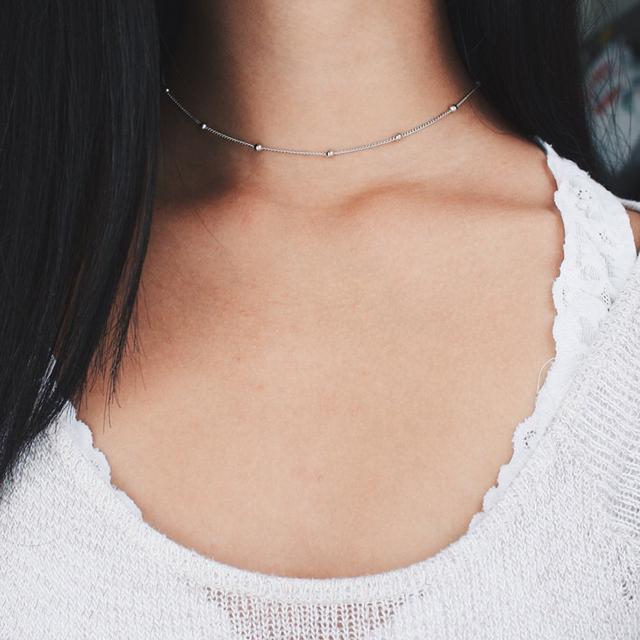 Fashion Silver Beaded Choker Necklace – Satellite Chain, Minimal Delicate Women gift XL367