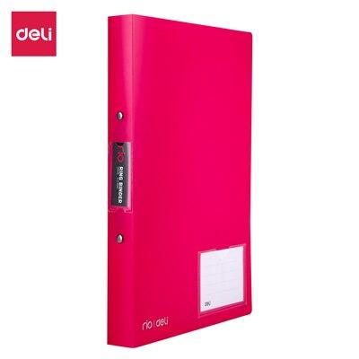 Deli 1 дюйм 2 уплотнительное кольцо Биндер A4 Цветной ПП файл E39576 - Цвет: Красный