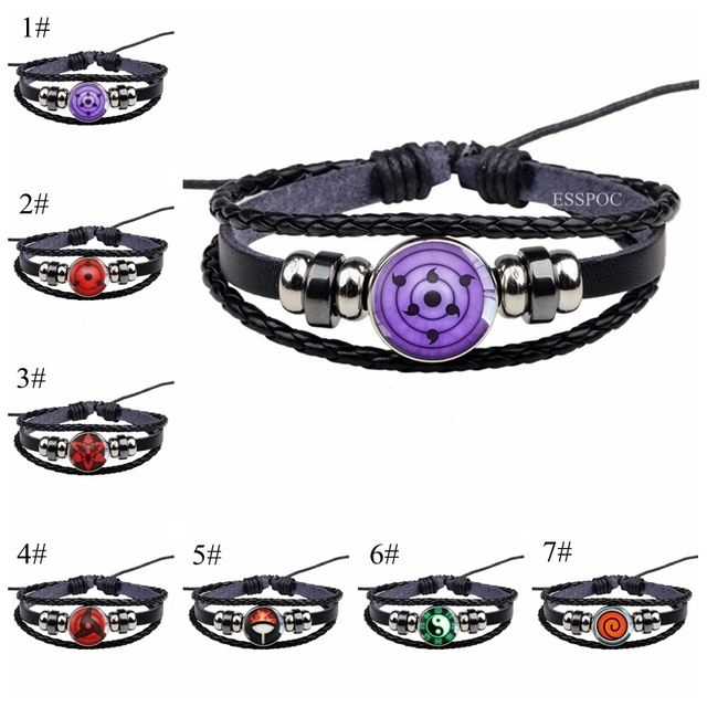 rinnegan eyes naruto bracelet sharingan eye black leather bracelet