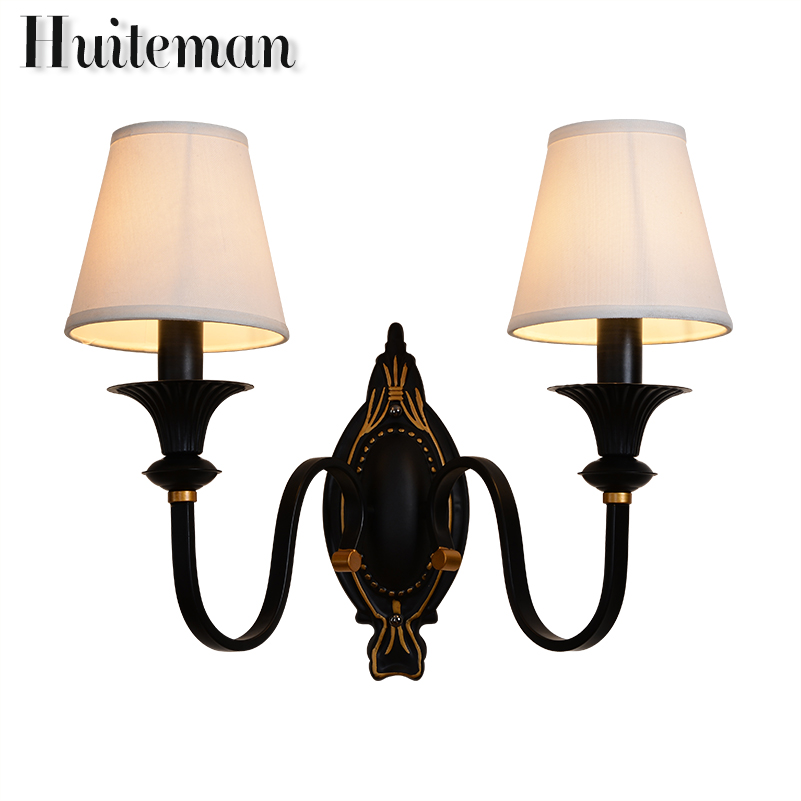 Huiteman Indoor Wall Lamps Led Wall Lights Bedroom Bedside Lamp Sconces For Wall Vintage Stair Lights E14 led Foyer Lampshade