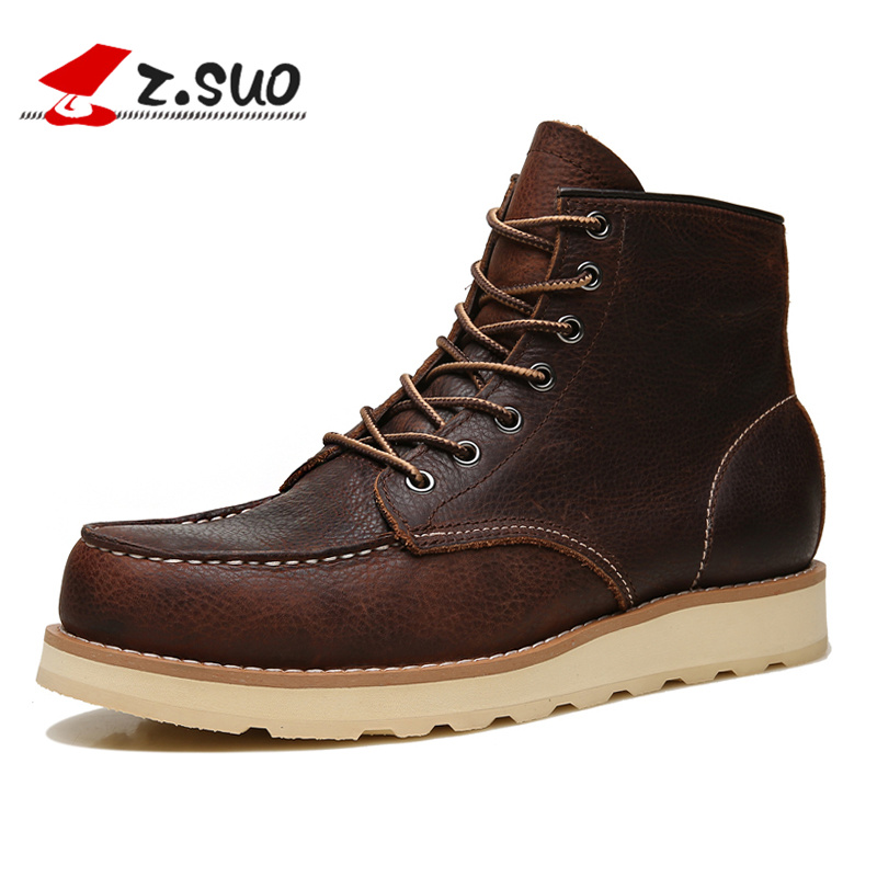 Z.Suo Winter Men Boots Cow Leather Brown Handmade Vintage Luxury Genuine Leather Suede Boots Fashion Casual Mens Ankle Boots 118 front lace up casual ankle boots autumn vintage brown new booties flat genuine leather suede shoes round toe fall female fashion