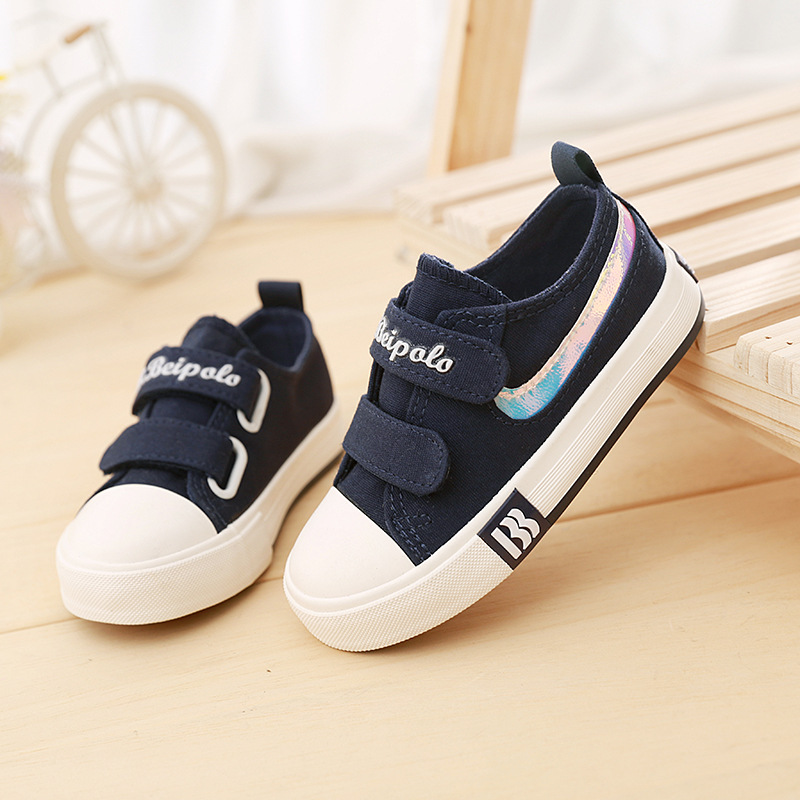 High quality 2018 European breathable canvas children casual sneakers Hook&Loop baby girls boys shoes cool kids footwear