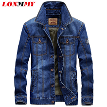 LONMMY M-4XL 2017 Mens jackets and coats Cotton Military style jeans jacket men coat Army Multi-pocket Denim men coat New