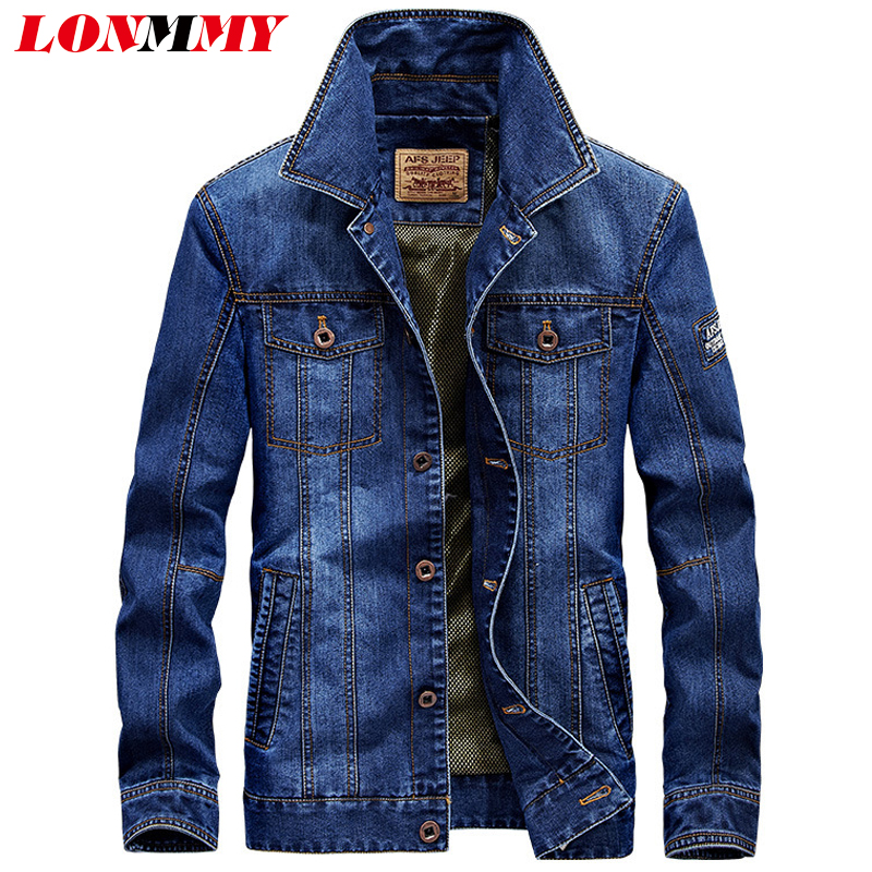 LONMMY M-4XL 2018 Mens jackets and coats Cotton Military style jeans jacket men coat Army Multi-pocket Denim men coat New