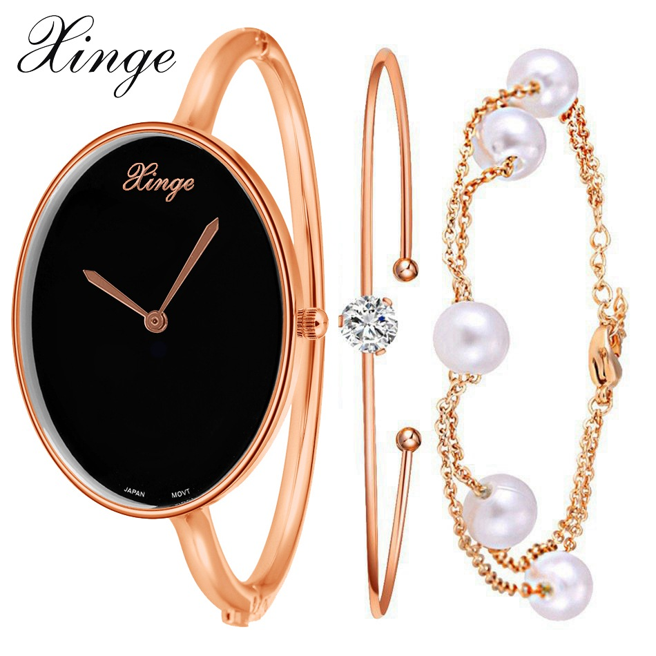 Xinge Brand Quartz-Watch Women Bracelet Pearl Chains Jewelry Watch Set Wristwatch Waterproof Female Crystal Stone Watches xinge brand watch women bracelet rhinestone chain bangles jewelry watch set wristwatch waterproof ladies gold quartz watch