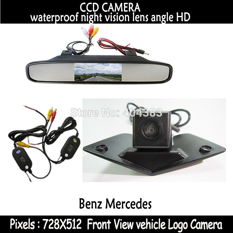 Car front View Monitor+ Night Vision ccd front view Camera for Benz Mercedes Vito Viano A B C E G GL SLK GLK SL R GLA CL CLA AMG