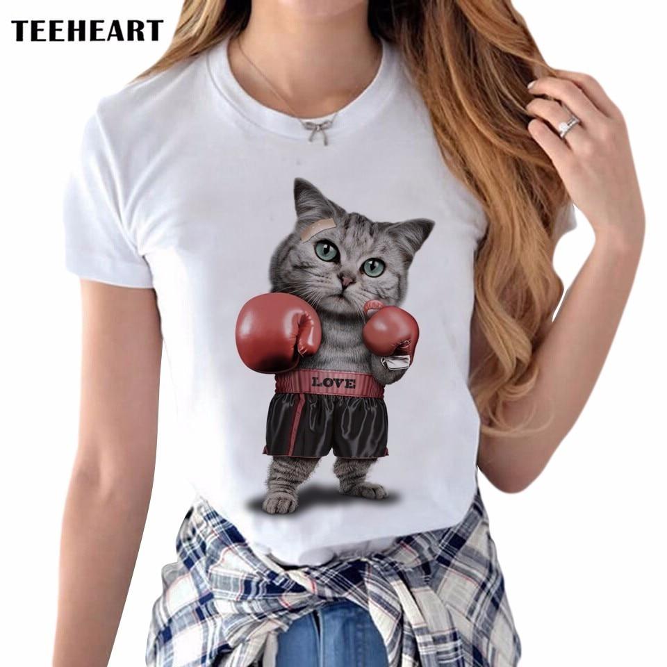 Desain t shirt elegan - 2017 Musim Panas 3d Melawan Kucing Desain T Shirt Wanita Keren Hewan Percetakan Orisinalitas O
