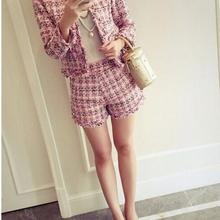 2019 Tweed 2pcs girl Set Slim Plaid Short Set Fashion Fringed Trim Jacket Coat+T