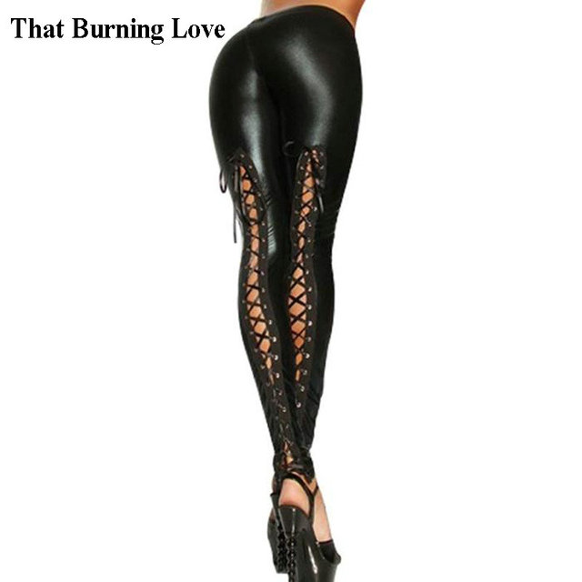 9a3e324d05bb04 That Burning Love Black Sexy Stretchy Workout Leggings Lace Up Gothic  Leggings PU Leather Women Bandage Pants Skinny Leggings