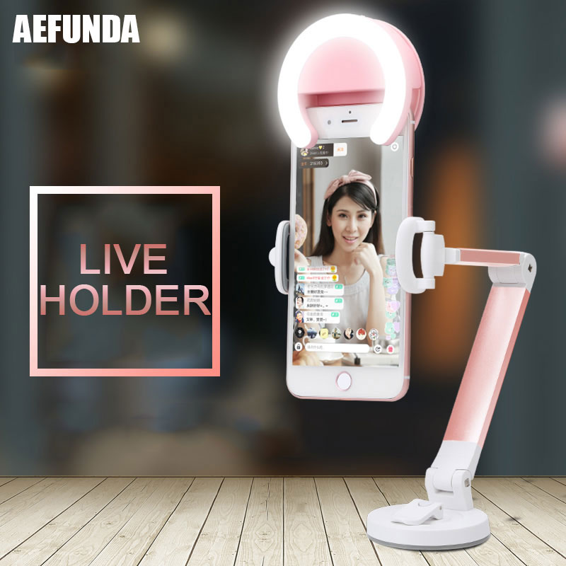 Universal Desk Mobile Phone Tablet Stand Fold Live Holder For iPhone 8 6 7 Plus X SE iPad Samsung Xiaomi 360 Rotation Car Tripod