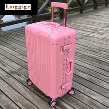 Pink Aluminum frame+PC+ABS Multiwheel Luggage,TSA combination locks Suitcase,women 20″24″26″28″inch Travel case with bag holder