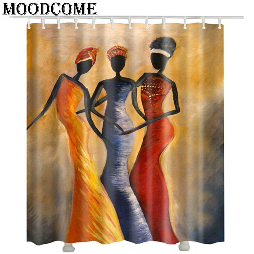 Mulheres Africano tecido de poliéster cortina de chuveiro do banheiro cortina de chuveiro de poliéster impermeável cortina de ducha