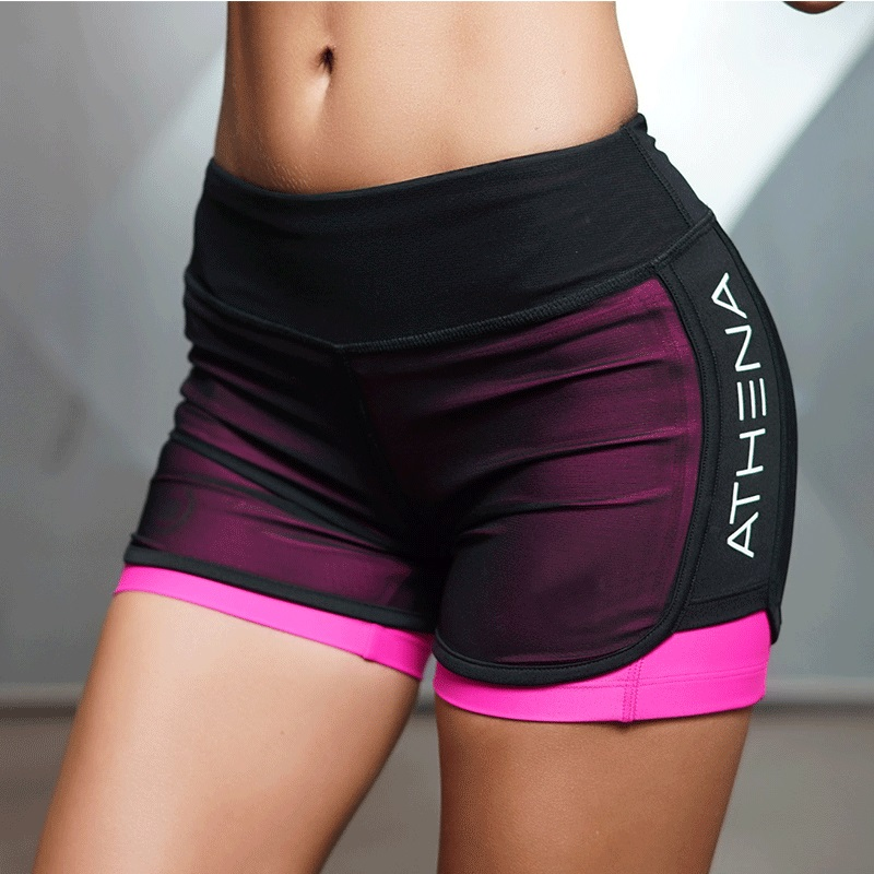 2019 Women Summer Sporting New Shorts For Fashion Patchwork Casual Active Short Feminino Fake Two Breathable Workout Shorts