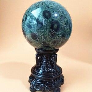 Image 2 - 6/7/8/9 センチメートル自然の緑孔雀の石クリスタルボール石美しい家の装飾ボールデスク風水風水治療ボール