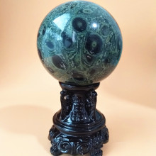 6/7/8/9CM Natural green peacock stone crystal ball stone beautiful home decorative balls desk feng shui therapy ball