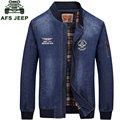 2017 nueva lista de otoño brand clothing hombres chaqueta de mezclilla azul jean de moda m ~ 3xl abrigos ropa de abrigo chaqueta informal largo de la manga