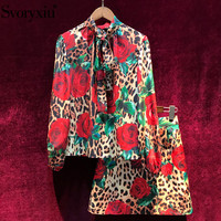Svoryxiu Women's Summer Runway Custom Vintage Leopard Red Rose Print Skirt Suit Female Sexy Elegant Party Two Piece Set Suits