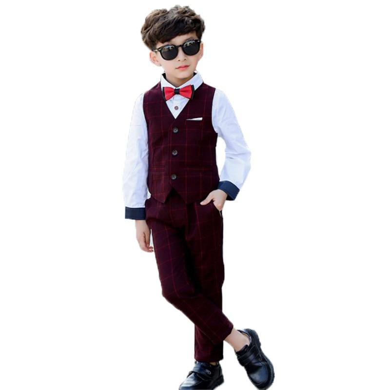 Brand Kids 2PCS Vest+Pants Boys Clothing Sets Gentleman Children Wedding Formal dresses Toddler Birthday Party Wear Tuxedo Suits 1