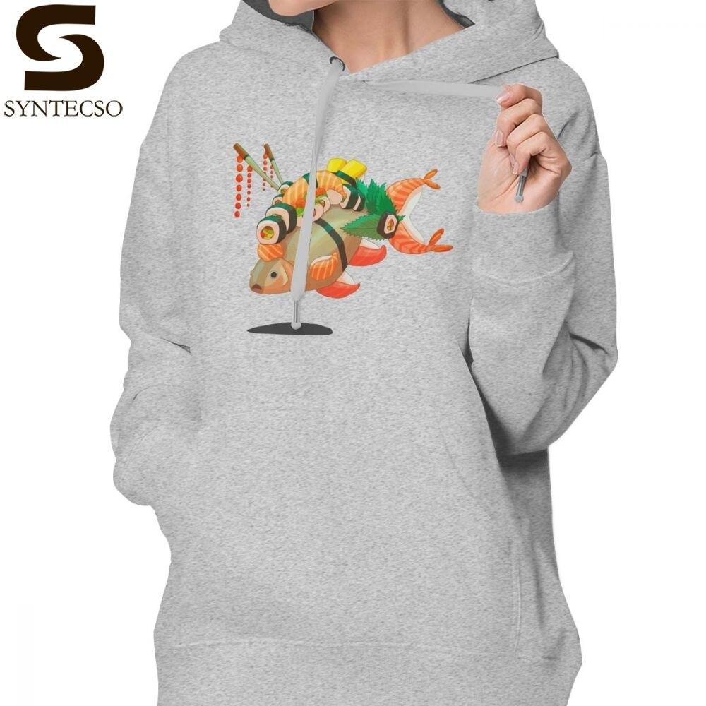 Poisson japonais à capuche en détresse Sushi Hoodies graphique Simple vestes à capuche femmes Oversize gris coton Streetwear pull à capuche