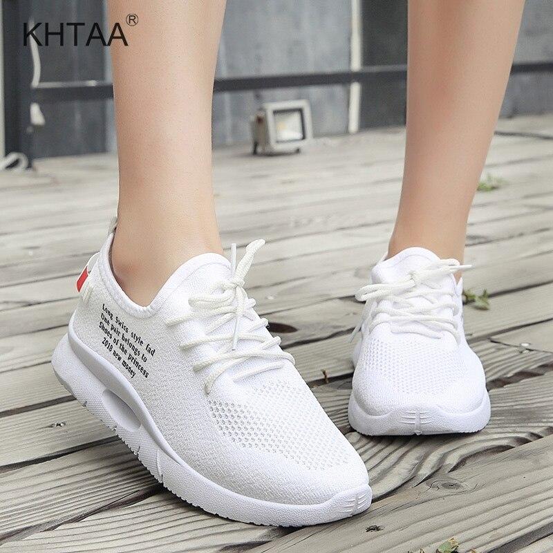 Flat Platform Medium Heel Women Sneakers Lace Up Mesh Breathable Female Shoes Print Solid Comfortable Leisure Woman Footwear slip-on shoe