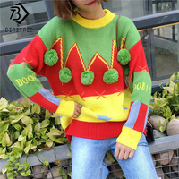 New 2017 Hit Color Winter Women Long Sleeves Christmas Ugly Sweater Spliced Sweet Pullovers Knitted O