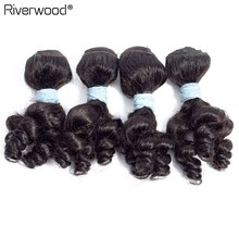 Brazilian Funmi Hair Weave 4 Bundles Natural Color Loose Curl 8 Inch 4pcs/lot Remy Human Hair Extensions Can Be Dyed Free Ship(China)