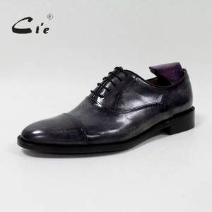 Image 2 - cie round captoe calf leather men shoe Handmade 100%Genuine calf leather outsole breathable blake lacing patina grey  OX 05 02