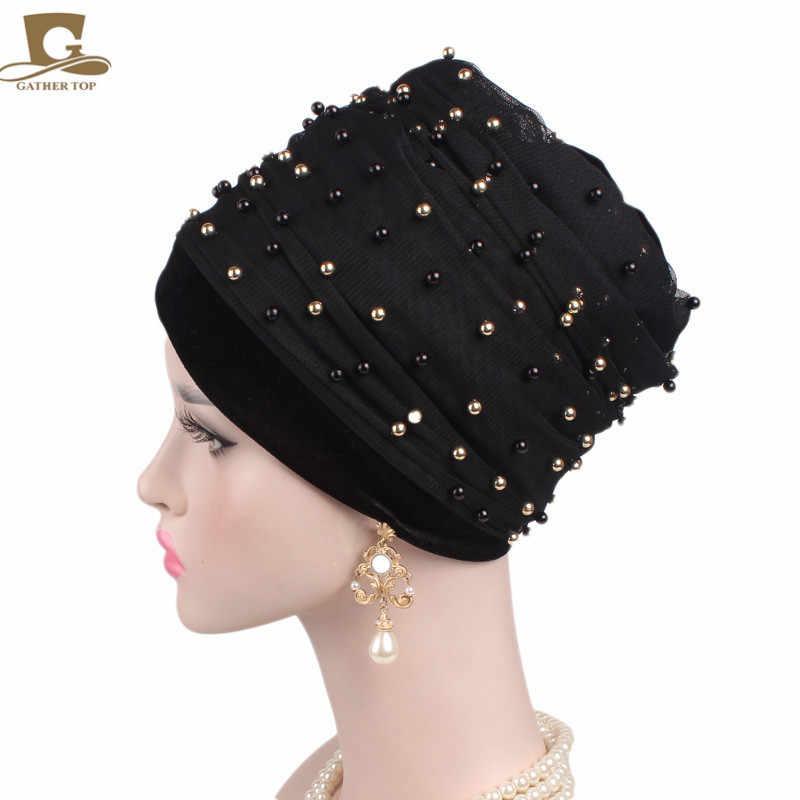 Новые роскошные массового золотой бисер сетка укутать голову в нигерийском стиле Тюрбан Женщин хиджаб длинный платок