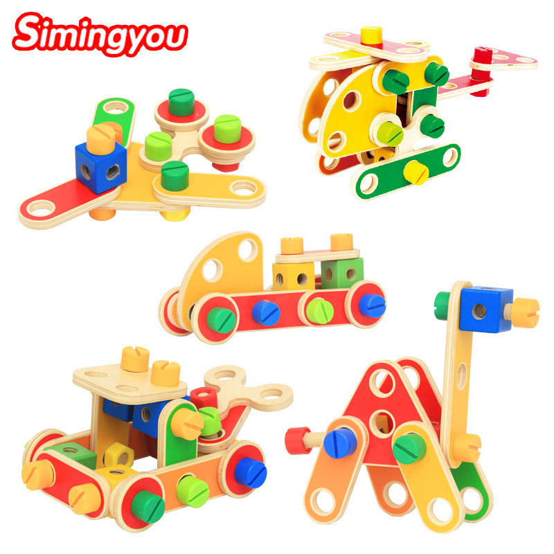 Simingyou 78pcs Wooden Puzzle Variety Of Nuts Combined Aircraft Learning Education Kids Toys B40-A-39 Drop Shipping