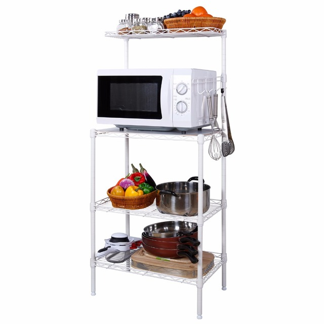 Lifewit 4 Tier Bakers Rack, Microwave Oven Stand With Hanging Hooks For  Kitchen Storage