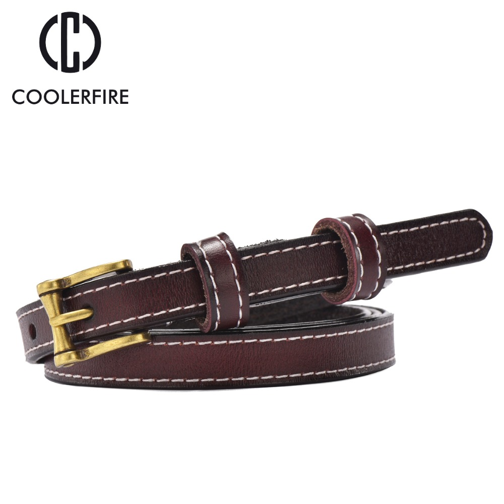 Skinny thin   belt   for women dress all mathched fashion genuine leather women's   belt   fashion 2017 high quality   belts   WH007
