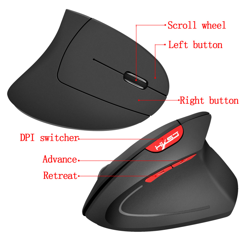 Image 5 - HXSJ new vertical wireless mouse 2.4G ergonomic wireless mouse 2400DPI adjustable for PC notebook USB2.0 black gray-in Mice from Computer & Office