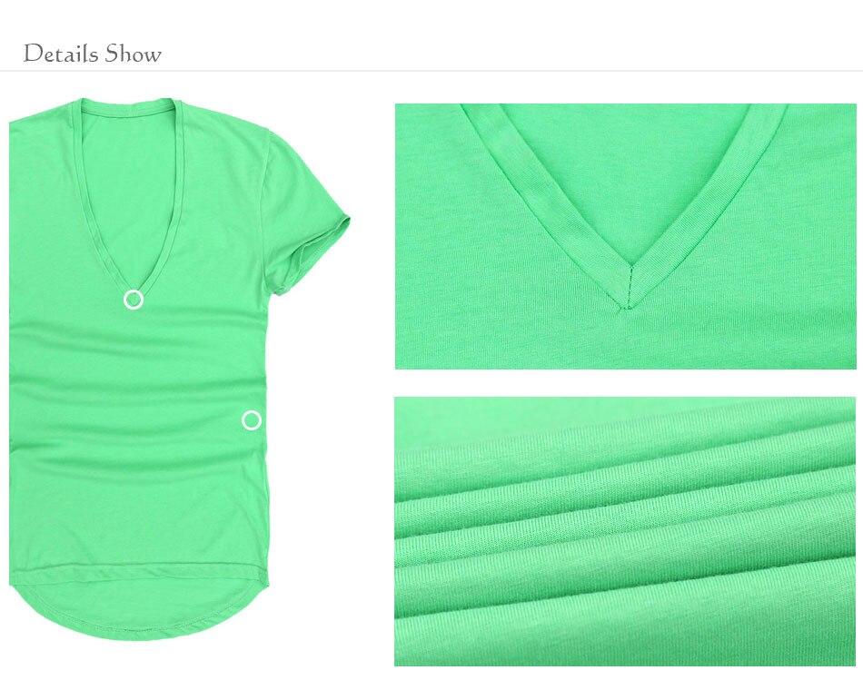 Zecmos Deep V Neck Sexy Men T-Shirt Vintage Short Sleeve Solid Color Muscle Fit T Shirt Men Top Tees Fashion 3