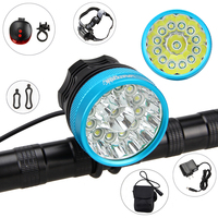 Aluminum 20000 LM Bike Light 13* XM L T6 LED Front Bike Light 3 Modes Cycling Lamp with Battery Sets and Red Laser Light