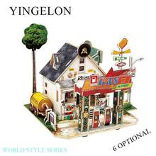 YINGELON Kids Easter Toys Craft Diy 3d Three-Dimensional Puzzle Crafts For Wood World Style House Stitching Childrens Card