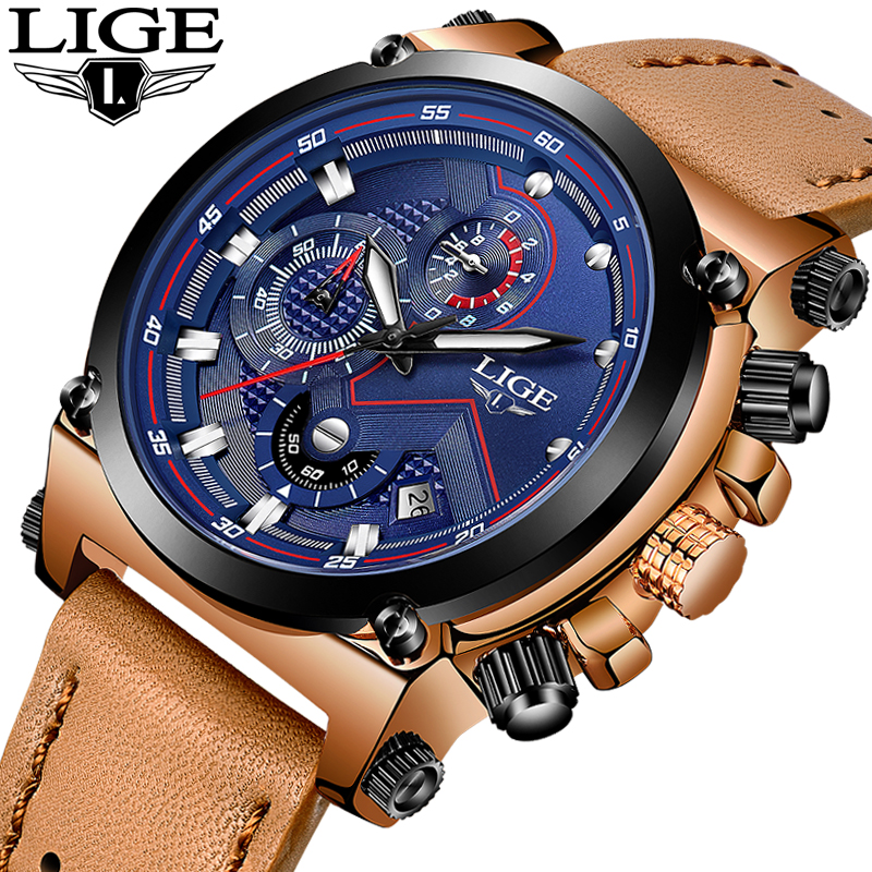 LIGE Mens Watches Top Brand Luxury Leather Quartz Watch Men Military Sport Waterproof Watch Luminous Clock Relogio Masculino+Box relojes lige mens watches brand luxury men military sport luminous wristwatch male leather quartz watch clock relogio masculino
