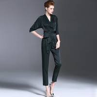Jumpsuits Women 100 Rayon Solid V Neck Sashes Ankle Length Pants 4 Colors Jumpsuits England Style