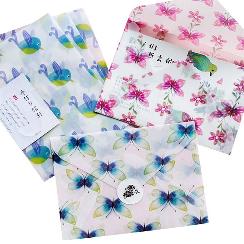 3pcs/pack Beautiful Butterfly And Bird Series Window Gifts Envelope PVC Gifts Cover Bag Wedding Invitation Envelope