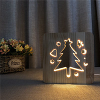 3D خشبية عيد الميلاد شجرة شكل مصباح الشمال الخشب ليلة الخفيفة الدافئة الأبيض أجوف LED الجدول مصباح USB الطاقة
