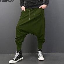 INCERUN, мужские шаровары, мешковатые, эластичный пояс, шнурок, низкая паха, брюки для хип-хопа, спортивные штаны, штаны, мужские брюки, 5XL