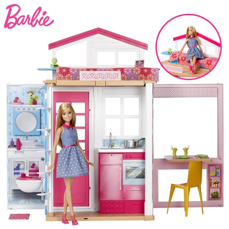 Original Barbie Doll Flashing Holiday Home Story Doll house Kit Cute Room Baby Girl Toys For Children Poppenhuis Casa de Bonecas цена