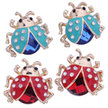 2015 Brand New Women's Cute Ladybird Shape Rhinestone Ear Stud Beetle Ladybug Gift Earrings  753H