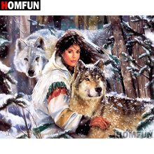 HOMFUN Full Square/Round Drill 5D DIY Diamond Painting Indian wolf Embroidery Cross Stitch 5D Home Decor Gift A07285 homfun 5d diy diamond painting full square round drill indian wolf embroidery cross stitch gift home decor gift a09279