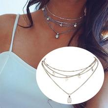 Fashion colorful stone multi-layered star pendant choker necklace bohemian adjustable female short necklace chain women jewelry adjustable bar layered wrap necklace