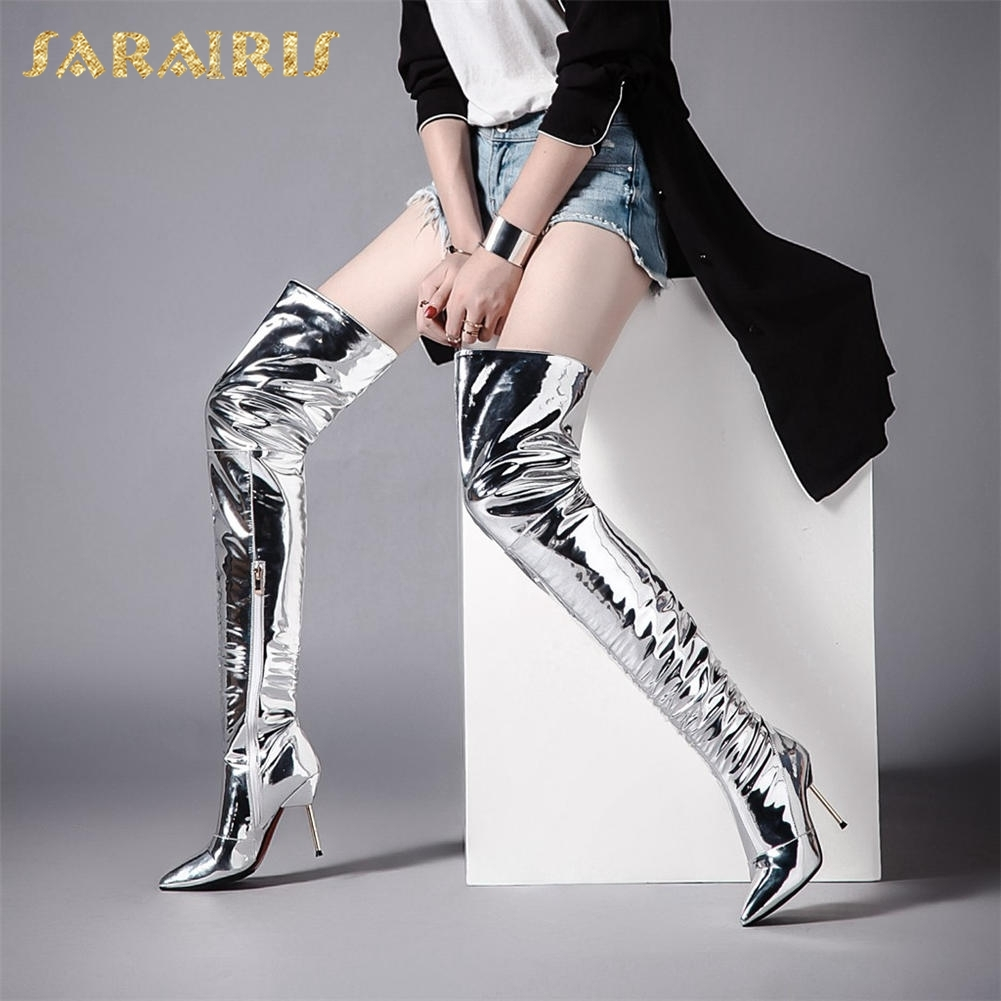 SARAIRIS brand new plus size 32-43 Hot Sale Sexy Thin High Heels Over The Knee Boots Women Shoes Pointed Toe Warm Winter Boots brand new high heels boots hot sale high boots platform women shoes thin round toe lace up boot high over the knee boots 293