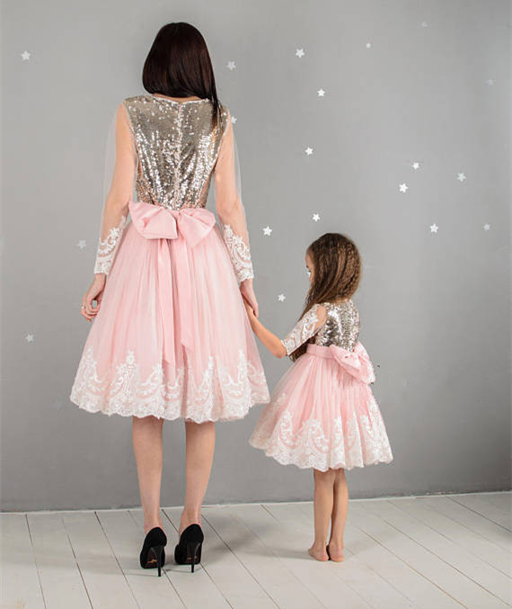 New Pink Girl First Birthday Outfit White Lace Gold Sequins Long Sleeve Pink Tutu Dresses Flower Girls Dresses for Wedding